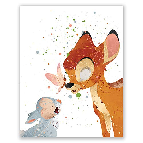 Bambi Art Print – Nursery Wall Art Poster – Kids Room Decor – Baby Shower Party Movie Picture – Birthday (8x10)
