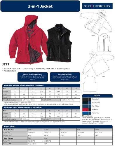 Black//Black J777 XXX-Large Port Authority Mens 3-In-1 Waterproof Jacket