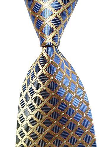 Wehug Hot Men's Ties 100% Silk Tie Woven Necktie Jacquard Neck Gold Ties lg0002