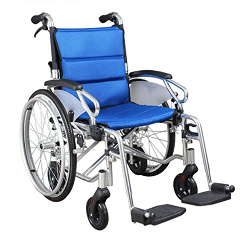 (Folding Wheelchair Aluminum Alloy Manual Wheelchair with Handbrakes Four wheels Various Flip Back Arm Styles and Front Rigging Options Portable Health Equipment for Elderly- PQF9-46)