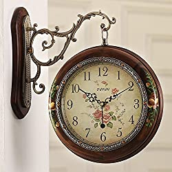 SSBY Mute the two double sided wall clock antique solid wood oversized clock table garden living room ideas personalized clocks,a