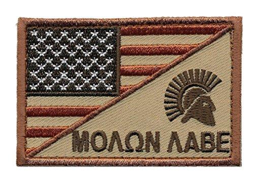 [Patch Squad Men's USA Flag / Spartan Head Molon Labe Military Morale Patch (Tan/Copper)] (King Leonidas Costumes)