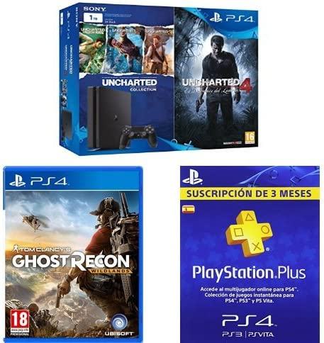 PlayStation 4 Slim (PS4) 1TB - Consola + Uncharted Collection + Uncharted 4 + PSN Plus Tarjeta 90 Días: Amazon.es: Videojuegos