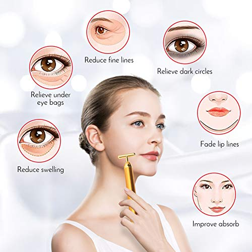 3-IN-1 Beauty Bar 24k Golden Pulse Facial Face Massager, Deciniee Face Roller Massager for Face Lift, 3D Roller Electric Sonic and T- Shape Face Vibrant Massager for Anti-Aging/Wrinkles,Skin Tighten