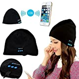Premium Knit Winter Bluetooth 4.1 Hat Warm fashionable hat with Stereo Speaker with Removable Headrest Christmas Tech Gifts for Teen Young Boys Girls Men Women (Black)