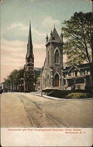 Universalist and First Congregational Churches, Christ Church Original Vintage Postcard