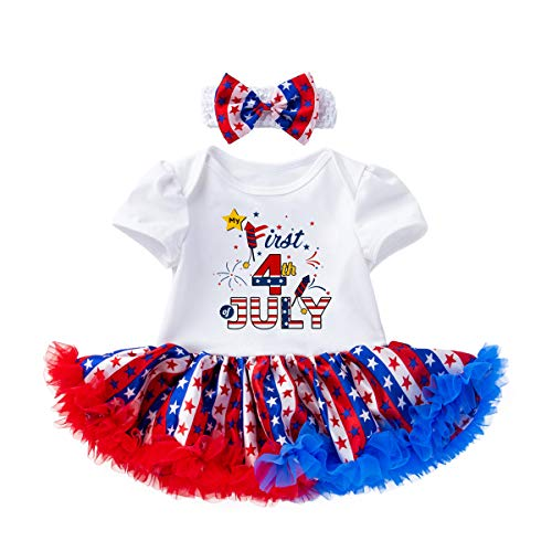 YOUNGER TREE My First 4th of July Toddler Baby Girls Romper American Flag Dress Tutu Dress with Headband 2PCS Outfit