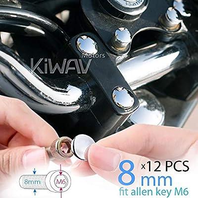 KiWAV Motorcycle Round Bolt Cap Screw Cover Plug Chrome for 8mm Thread Allen Head Bolts, ie M6 Allen Key: Automotive