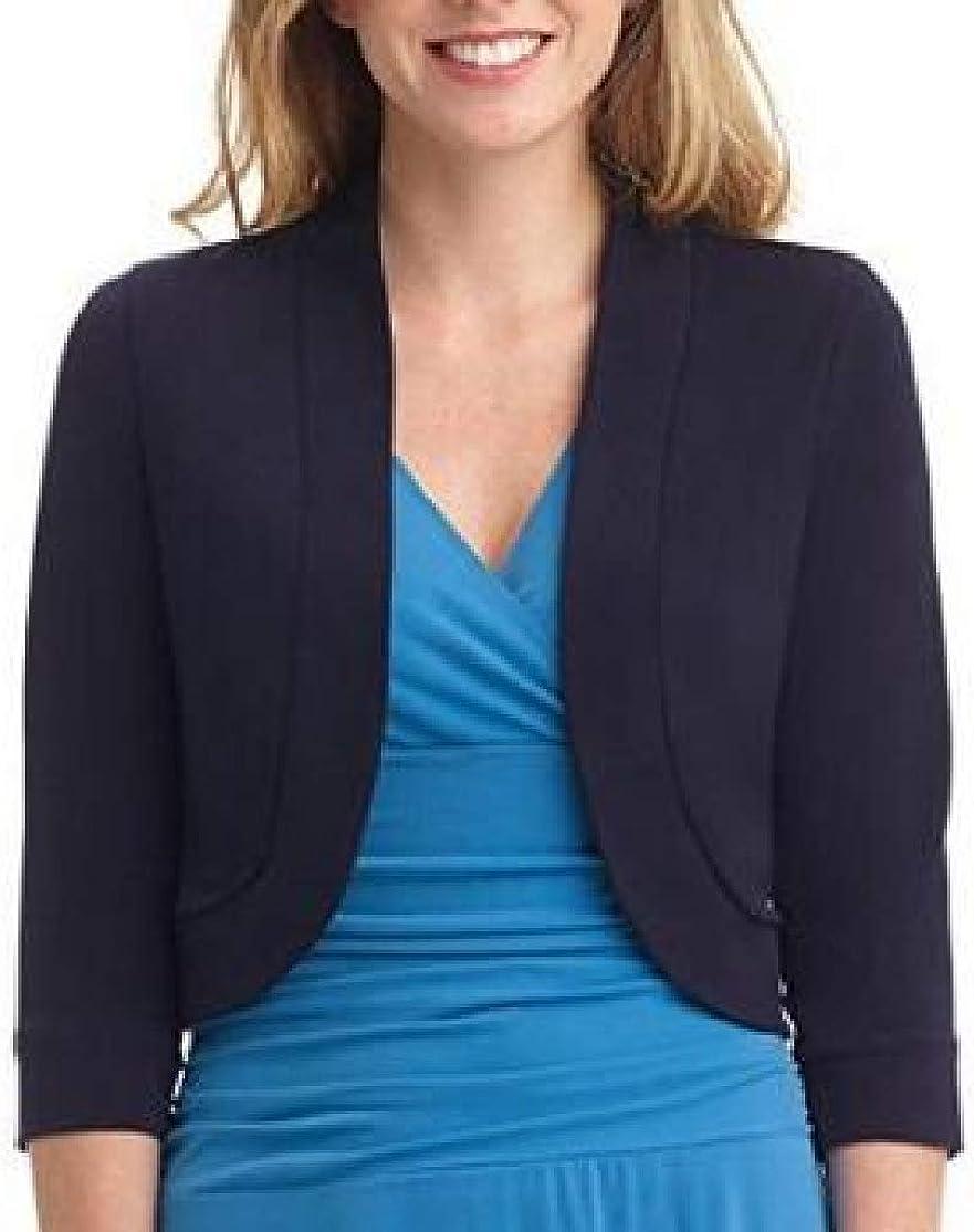 BU2H Women 3//4 Sleeve Plus Size Solid Bolero Shrug Open Cardigan