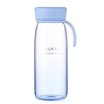 Botella de agua de cristal Oneisall de 400 ml, de color degradado, de vidrio