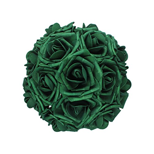 50pcs Artificial Flower,Real Touch Artificial Foam Roses Decoration DIY for Wedding Bridesmaid Bridal Bouquet Centerpieces Party (50, Army green)