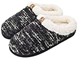 Memory Foam Warm Slippers Plush Lined House Shoes Indoor Outdoor Sole for Women (X-Large / 11-12 B(M) US,Black)