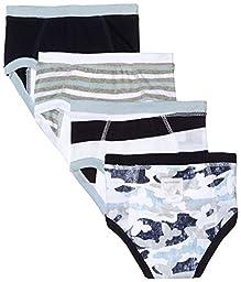 Burt\'s Bees Kids Boys\' 4 Pack Organic Knit Terry Training Pants, Sail Blue Camo, 3 Toddler