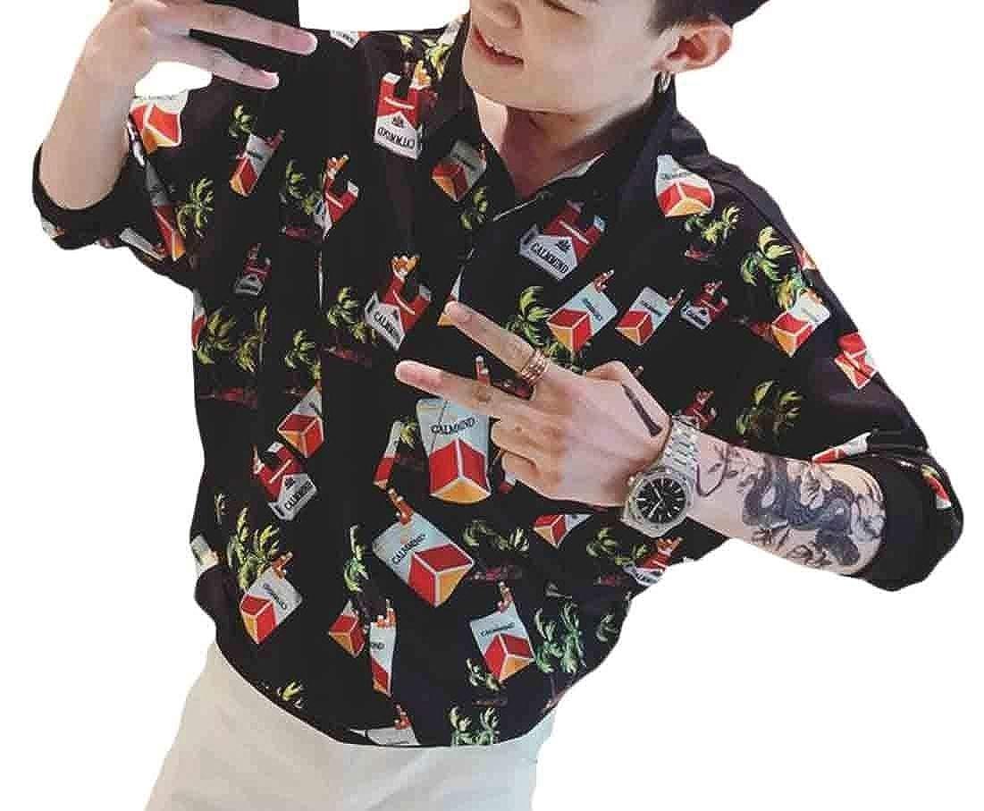 WSPLYSPJY Mens Dress Shirt Slim Casual Printed Shirt Long Sleeve Button Down Shirts