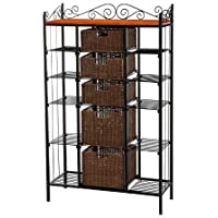 K&A Company Classic Iron Bakers removable drawers scrollwork versatility with 5 Rattan Baskets 12.8 x 31.5 x 53 inches