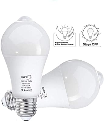 Brtlx Pir Motion Sensor Led Light Bulb A60 13w E27 3000k Warm White Auto On Off For Stairs Garage Hallway Pack Of 2 Amazon Co Uk Kitchen Home