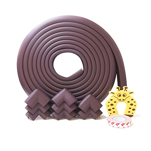 Edge Corner Guard 5.5 Meters 22ft 12 mm Thick 8 Pre-Taped Corners Baby Safety Bumpers Corner Cushions Protectors for Furniture Edges Baby proofing from sharp corners Bonus Door Stopper Brown- By AFIIT by AFIIT