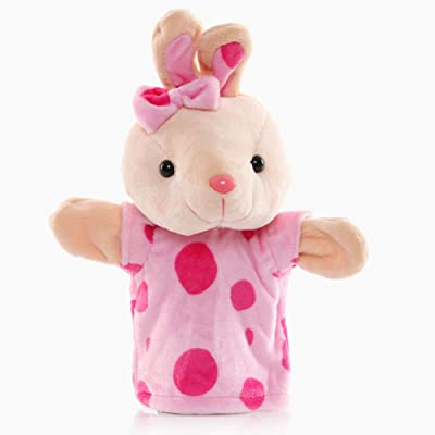 """Baidercors Polka Dot Easter Bunny Plush Hand Puppets 10"""": Toys & Games"""