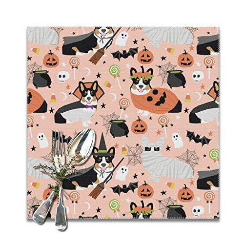 tri-Colored Corgi Halloween Costumes Mummy Vampire Ghost just Dog Peach Placemats for Dining Table,Washable Placemat Set of 6, 12x12 inches -