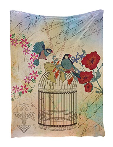Floral Vintage Tapestry (Vintage Tapestry Floral Decor by Ambesonne, Vintage Birds and Cage Creme Ribbon Inspirational Letter with Ornamental French Design Wall Hanging, Wall Tapestry, 60
