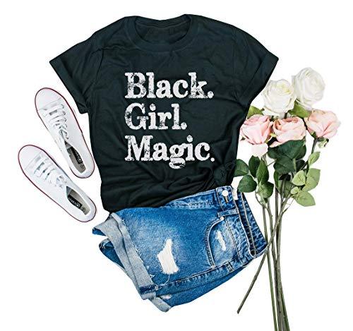 - IRISGOD Womens Black Girl Magic T Shirt Summer Cute Short Sleeve Juniors Graphic Tees Tshirts