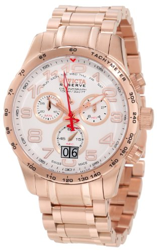 Invicta Men's 10743 Reserve Chronograph White Dial 18k Rose Gold Ion-Plated Stainless Steel Watch ()