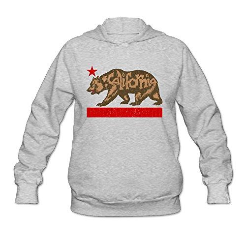 (SLIAT Women's California Republic Fuzzy Bear Hoodie Ash )