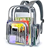 Cambond Clear Backpack, Heavy Duty Transparent Backpacks for Adults with Reinforced Straps See-Through Bag for School Work (Large, Grey)