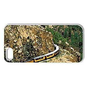 train coming up a canyon cliff - Case Cover for iPhone 5 and 5S (Canyons Series, Watercolor style, White)