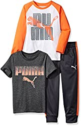 Puma Little Boys' Three Piece T-shirt & Pant Set, Puma White, 4