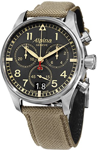 Alpine Clock - Alpina Startimer Pilot Chronograph Grey Dial Fabric Mens Watch AL-372BGR4S6