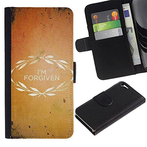 EuroCase - Apple Iphone 5 / 5S - I'M FORGIVEN - Cuir PU Coverture Shell Armure Coque Coq Cas Etui Housse Case Cover