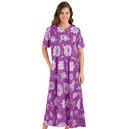 Collections Etc Women's Floral Print Zip Lounger With Pockets, Lilac, Medium (Front Lounger Zip)