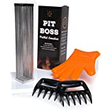 """Ultimate Pit Boss Pellet Tube Smoker Set - 12"""" Stainless Steel Pellet Tube Smoker, Food-grade Silicone Grilling Glove, Pair of Meat Claw Shredders - Convert any grill to a smoker - Hot or cold smoking"""