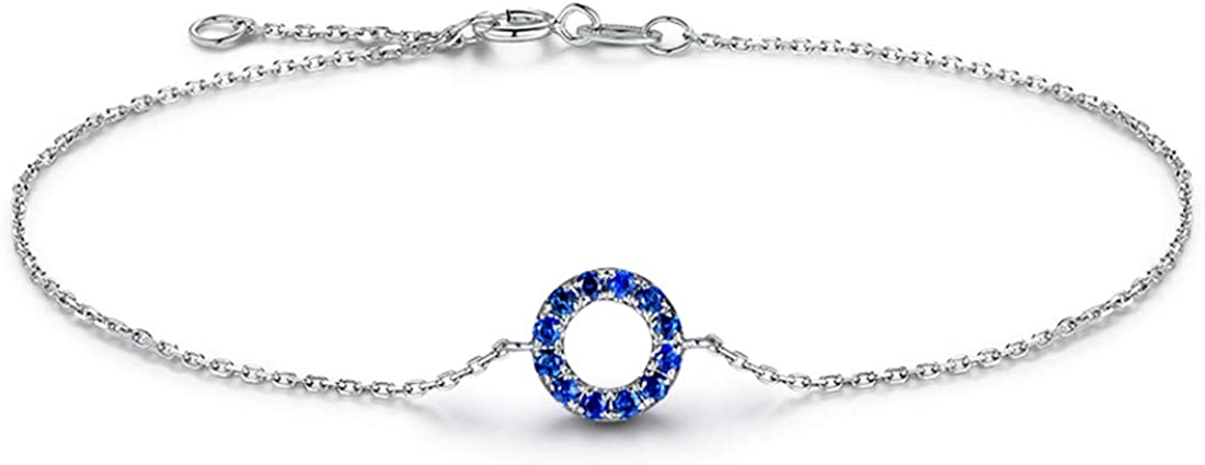 """Carleen 14K Solid White/Rose/Yellow Gold Open Circle Genuine Blue/yellow Sapphire Ruby Forever Love Friendship Dainty Bracelet Delicate Jewelry For Women Girls, 7"""" + 1.2"""" Extender"""