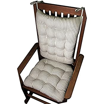 Beau Barnett Products Rocking Chair Cushion Set   Ticking Stripe Black    Extra Large/Presidential   Seat Cushion With Ties And Back Rest    Reversible, ...