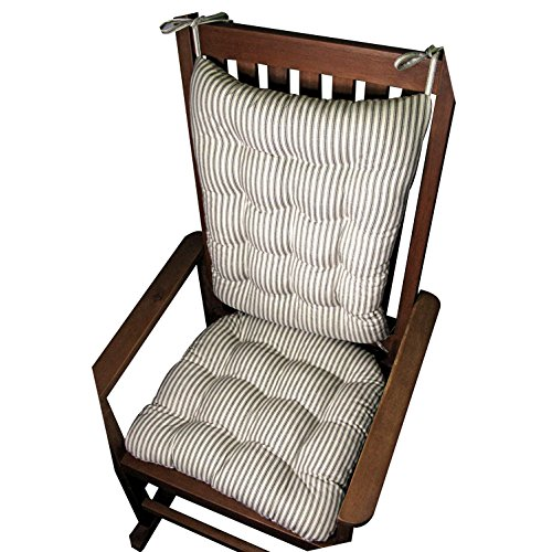 Rocking Chair Cushion Set - Ticking Stripe Black - Extra-Large / Presidential - Seat Cushion with Ties and