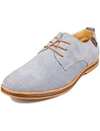 Men's Classic Leather Oxford Flats Shoes Lace Up