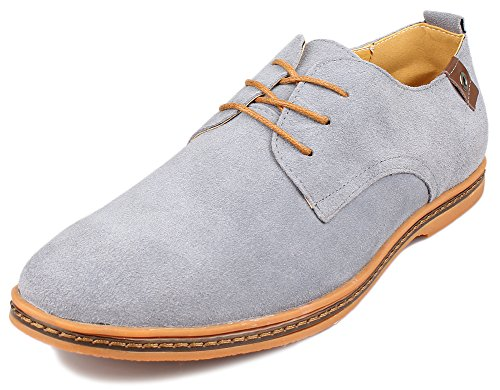 Kunsto Men's Classic Leather Oxfords Flats Shoes Lace Up US Size 9.5 Gray