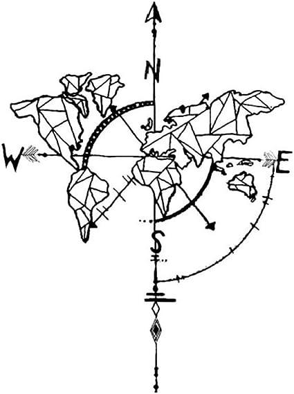 Tatuajes temporales de mapa del mundo brújula para hombre y mujer ...