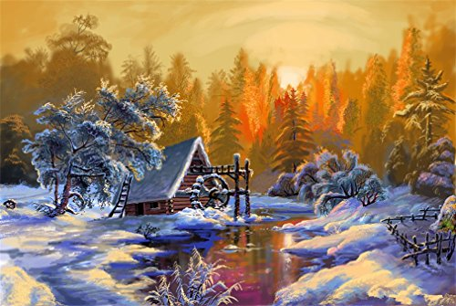 Paint by Numbers, DIY Painting by Numbers for Adults Kids Beginner - Winter Sunrise Snow Scene 16x20 inch (Framed) ()