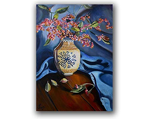 Floral Still Life Wall Art Print Polish Pottery Fall Moon Pattern Vase Giclee, Size mat option