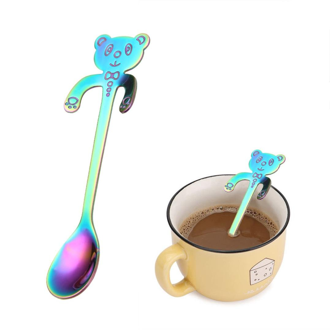 NewKelly Cute Bear Spoon Long Handle Spoons Flatware Coffee Drinking Tools Kitchen (Multicolor)