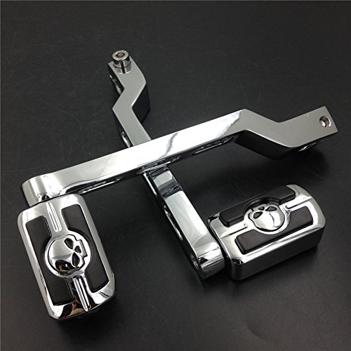HTT Group Motorcycle Chrome Aluminum Heel/Toe Shift Levers with Skull Shifter Pegs For Harley Davidson Electra Glide 1988 and later