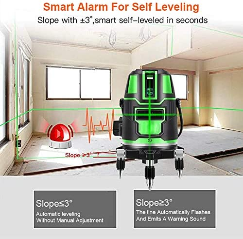 L.aser Level ,Self-Leveling Rotating, Vertical and Horizontal Green Laser Level 2/3/5 Lines Cross Line Automatic Self-Leveling Measuring Tool with Tripod (3 Lines)