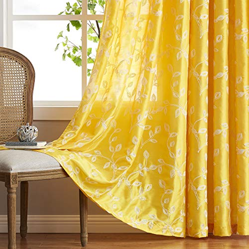 LALA WONZ Faux Silk Embroidered Semi Sheer Curtains for Living Room, Floral Embroidered Grommet Sheer Window Curtains for Bedroom, 52 x 96 Inch Long, Yellow, 2 Panels.