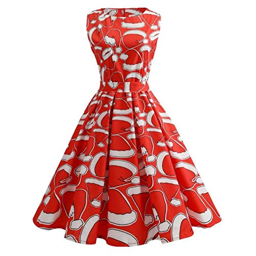 Dressin Women Christmas Print Pin Up Swing Lace Party Panel Dress High Waist Casual ()