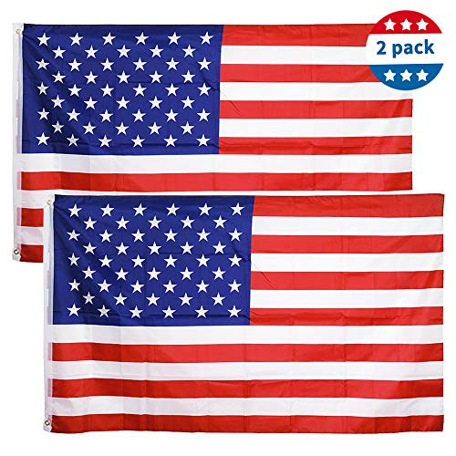 Tcamp 3'x5' FT USA American Flag US United States Stars Stripes - Brass Grommets, Indoor/Outdoor, Vibrant Colors, Quality Polyester, US USA Flag (2 Pack)