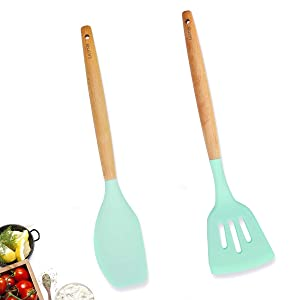 Silicone Spatula Set Cooking Utensils set, 2pcs Kitchen Utensils Turner for Nonstick Cookware, Pioneer Natural Wooden Handle Utensils Gift for Woman Mom Family(Mint Green, BPA Free)