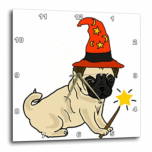 3dRose All Smiles Art Pets - Funny Cute Pug Dog Wizard Halloween Cartoon - 10x10 Wall Clock (Pics Of Halloween Pugs)